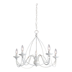 Artcraft Wrought Iron 5 Light  Antique White Chandelier