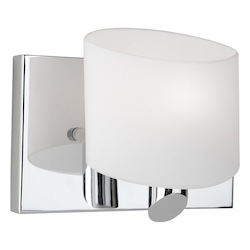 Artcraft One Light Chrome Frosted White Glass Bathroom Sconce