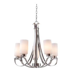 Artcraft Russell Hill 5 Light  Polished Nickel Chandelier
