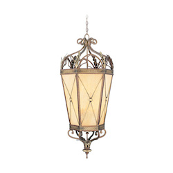 Livex Lighting Palacial Bronze With Gilded Accents Framed Glass Foyer Hall Fixture