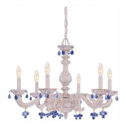Crystorama Six Light Antique White Murano Crystal Glass Up Chandelier
