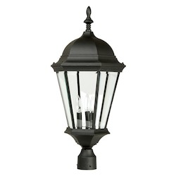 Craftmade Matte Black Straight Glass 3 Light Outdoor Post Light