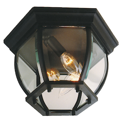 Craftmade Matte Black Three Light Down Lighting Medium Outdoor Flush Mount Ceiling Fixture