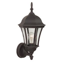 Craftmade Matte Black Curved Glass 1 Light Outdoor Wall Sconce - 8 Inches Wide