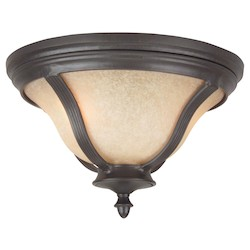 Craftmade Oiled Bronze Francès II 2 Light Energy Star Outdoor Flush Mount Ceiling Fixture
