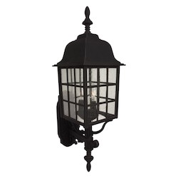 Craftmade Matte Black Grid Cage 3 Light Outdoor Wall Sconce - 8.5 Inches Wide