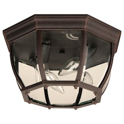Craftmade Outdoor Flush Mount Light With Beveled Glass Shades, Rust Finish