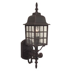 Craftmade Wall Lantern With Seeded Glass Shades, Rust Finish