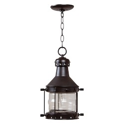 Craftmade Hanging Lantern With Clear Glass Shades, Copper Finish