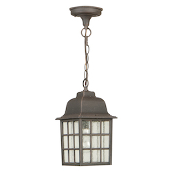 Craftmade Grid Cage 1 Light Outdoor Pendant, Rust