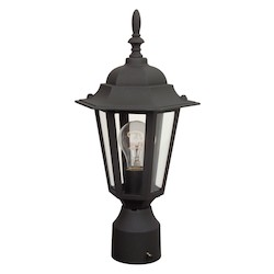 Craftmade Matte Black Hex 1 Light Outdoor Post Light