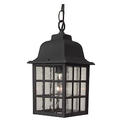 Craftmade Matte Black Grid Cage 1 Light Rectangular Outdoor Pendant - 6 Inches Wide