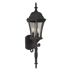Craftmade Matte Black Curved Glass 3 Light Outdoor Wall Sconce - 9.5 Inches Wide