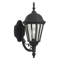 Craftmade Matte Black Straight Glass 1 Light Outdoor Wall Sconce - 7.75 Inches Wide