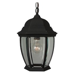 Craftmade Matte Black Bent Glass 1 Light Outdoor Pendant - 9.5 Inches Wide