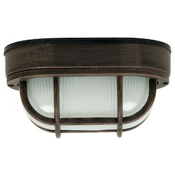 Craftmade Marine Light With Frosted Halophane Glass Shades, Rust Finish