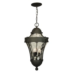 Craftmade Hanging Lantern With Clear Water Glass Shades, Black Finish