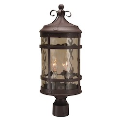 Craftmade Post Mount Light With Champagne Hammered Glass Shades, Rustic Iron Finish