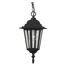 Craftmade Matte Black Hex 1 Light Lantern Outdoor Pendant - 8 Inches Wide