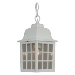 Craftmade Hanging Lantern With Seeded Glass Shades, White Finish