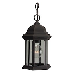 Craftmade Hanging Lantern With Clear Glass Shades, Rust Finish