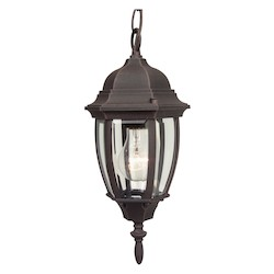 Craftmade Hanging Lantern With Beveled Glass Shades, Rust Finish