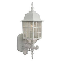 Craftmade Wall Lantern With Seeded Glass Shades, White Finish