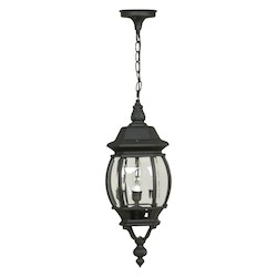 Craftmade Matte Black French Style 3 Light Lantern Outdoor Pendant - 8 Inches Wide
