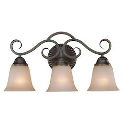 Craftmade Three Light Century Bronze Painted Glass Vanity