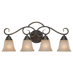 Craftmade Four Light Century Bronze Painted Glass Vanity