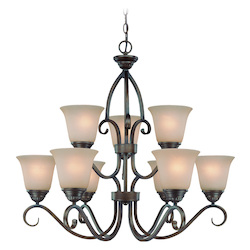 Craftmade Nine Light Century Bronze Painted Glass Up Chandelier