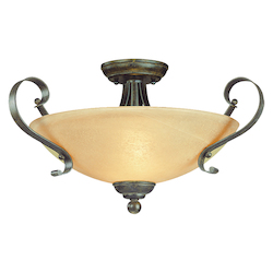 Craftmade Three Light Brownstone Faux Alabaster Shade Bowl Semi-Flush Mount