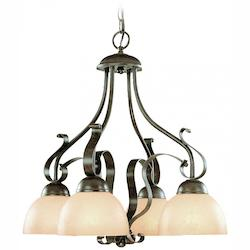 Craftmade Four Light Brownstone Faux Alabaster Shade Down Chandelier