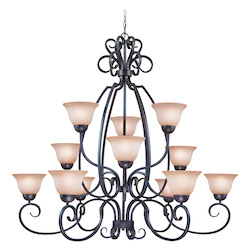 Craftmade Twelve Light Forged Metal Painted Glass Up Chandelier