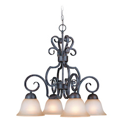 Craftmade Four Light Forged Metal Painted Glass Down Chandelier
