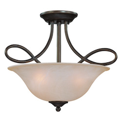 Craftmade Three Light Old Bronze Faux Alabaster Shade Bowl Semi-Flush Mount