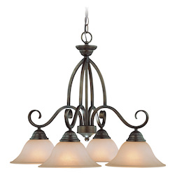 Craftmade Four Light Century Bronze Painted Glass Down Chandelier