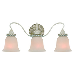 Craftmade Three Light Antique Linen Painted Glass Vanity