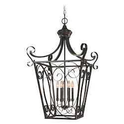 Craftmade Six Light English Toffee Open Frame Foyer Hall Fixture