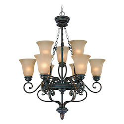 Craftmade Nine Light Mocha Bronze Painted Etched Glass Up Chandelier
