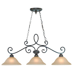 Craftmade Three Light Mocha Bronze Painted Etched Glass Island Light