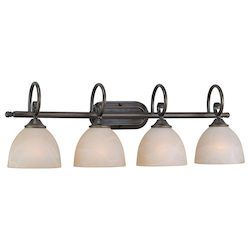 Craftmade Four Light Old Bronze Faux Alabaster Shade Vanity