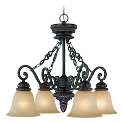 Craftmade Four Light Mocha Bronze Painted Etched Glass Down Chandelier