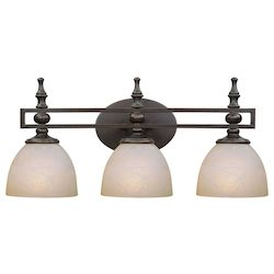 Craftmade Three Light Old Bronze Faux Alabaster Shade Vanity