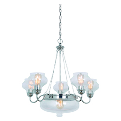 Craftmade Six Light Polished Nickel Antique Clear Glass Up Chandelier