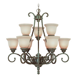 Craftmade Nine Light English Toffee Faux Alabaster Shade Up Chandelier