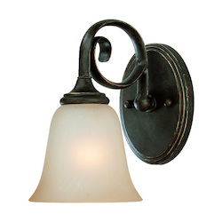Craftmade One Light Mocha Bronze Etched; Painted Glass Bathroom Sconce