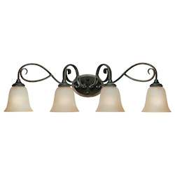 Craftmade Four Light Mocha Bronze Etched; Painted Glass Vanity