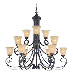 Craftmade Twelve Light English Toffee Frost Glass Up Chandelier