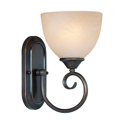 Craftmade One Light Old Bronze Faux Alabaster Shade Bathroom Sconce